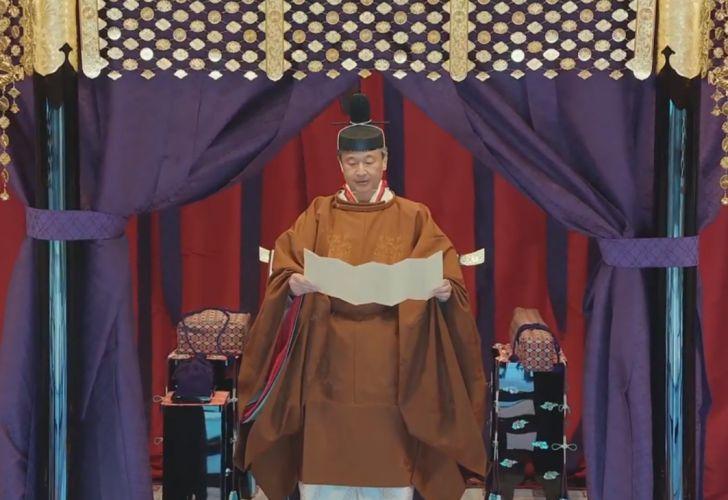 El nuevo emperador Naruhito durante su entronización
